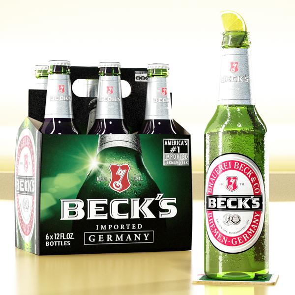 becks 6 bottles cardboard pack 3d model 3ds max fbx obj 142387