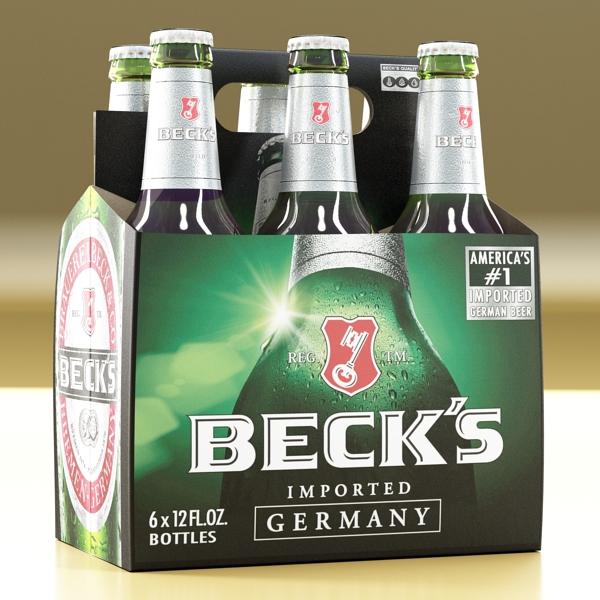 becks 6 bottles cardboard pack 3d model 3ds max fbx obj 142388