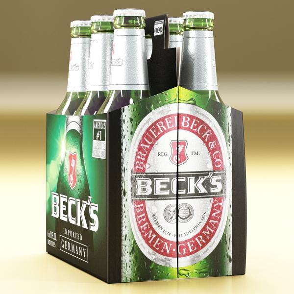 becks 6 bottles cardboard pack 3d model 3ds max fbx obj 142389
