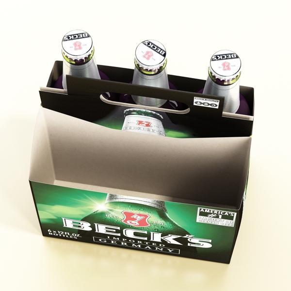 becks 6 bottles cardboard pack 3d model 3ds max fbx obj 142390