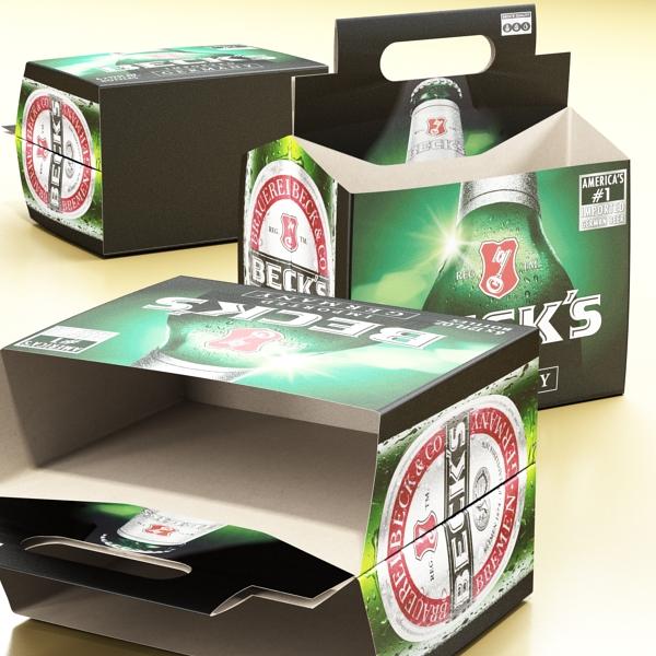 becks 6 bottles cardboard pack 3d model 3ds max fbx obj 142391