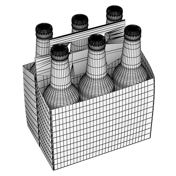 becks 6 bottles cardboard pack 3d model 3ds max fbx obj 142394