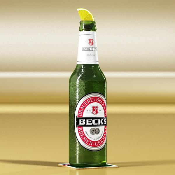 becks 6 bottles cardboard pack 3d model 3ds max fbx obj 142397