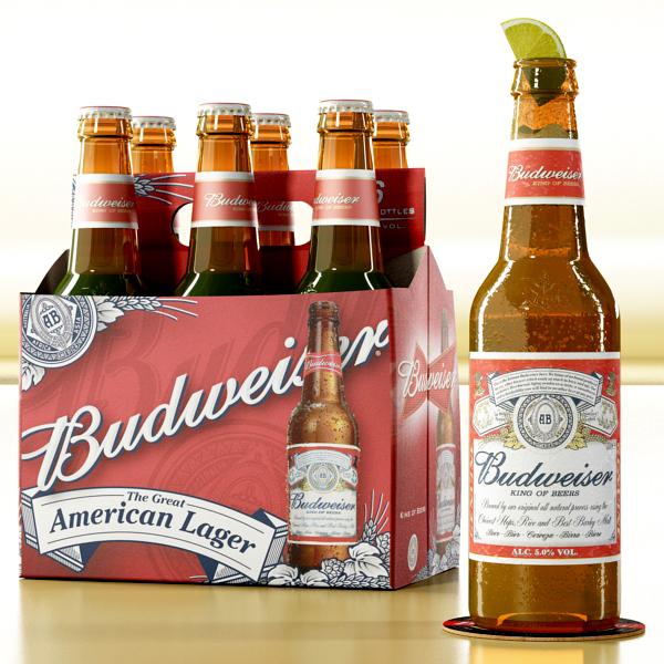 budweiser beer bottle – six cardboard pack 3d model 3ds max fbx obj 142129
