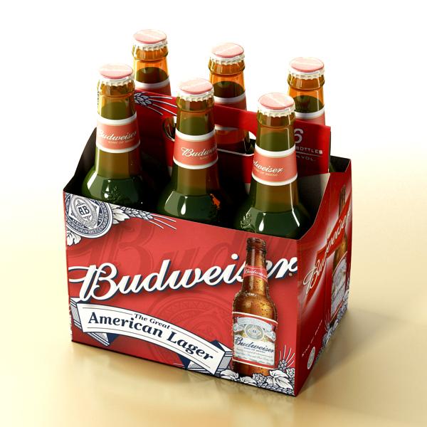 budweiser beer bottle – six cardboard pack 3d model 3ds max fbx obj 142130