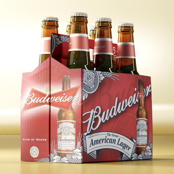 budweiser beer bottle – six cardboard pack 3d model 3ds max fbx obj 142131
