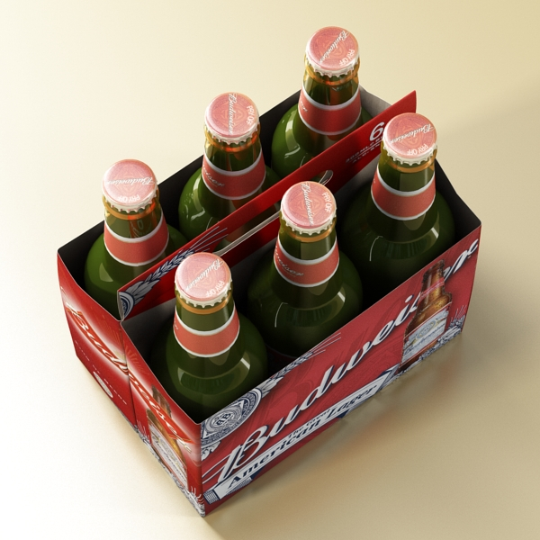 budweiser beer bottle – six cardboard pack 3d model 3ds max fbx obj 142132