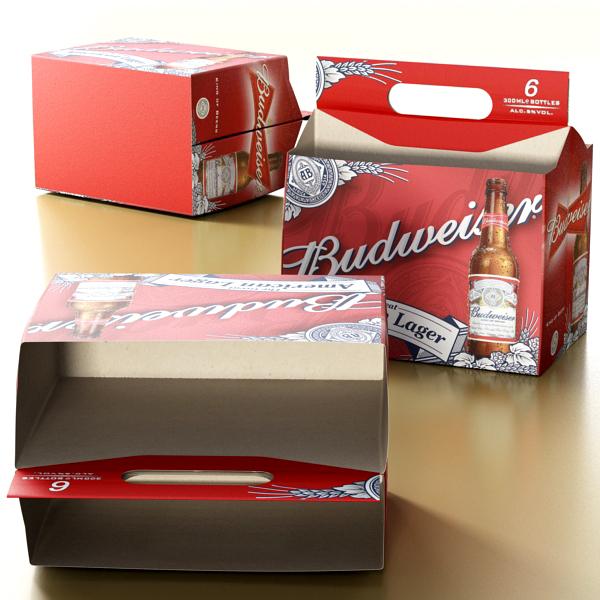 budweiser beer bottle – six cardboard pack 3d model 3ds max fbx obj 142133
