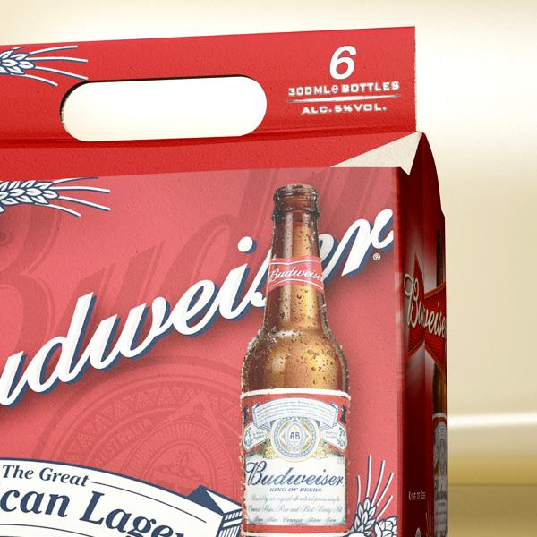 budweiser beer bottle – six cardboard pack 3d model 3ds max fbx obj 142134