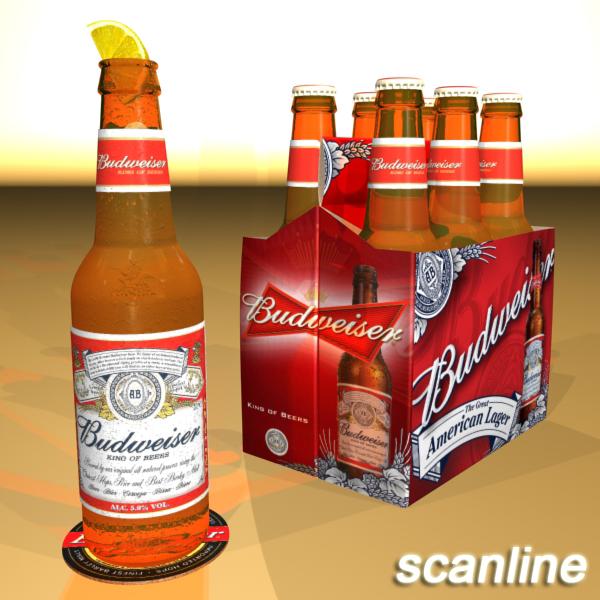 budweiser beer bottle – six cardboard pack 3d model 3ds max fbx obj 142135