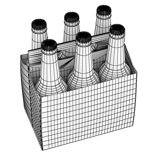 budweiser beer bottle – six cardboard pack 3d model 3ds max fbx obj 142136