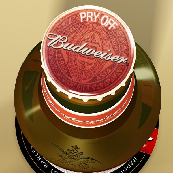 budweiser beer bottle – six cardboard pack 3d model 3ds max fbx obj 142142