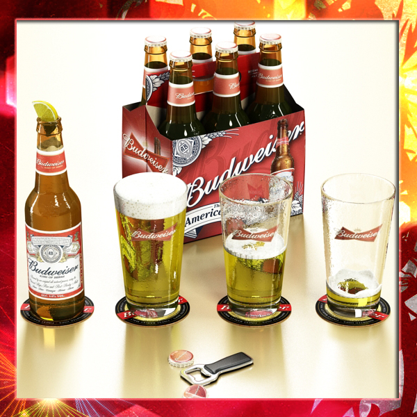 budweiser beer collection. 3d model 3ds max fbx obj 142170