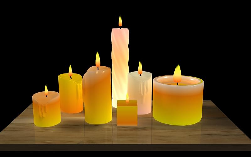 candles & flames 3d model max 150913