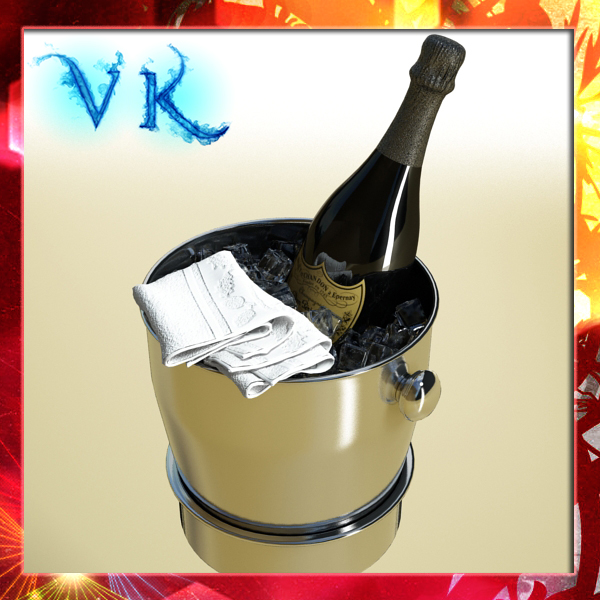 champagne set 3 – bottle, flute and ice bucket 3d model 3ds max fbx obj 144555