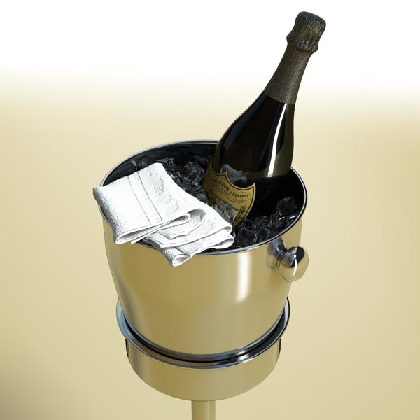 champagne set 3 – bottle, flute and ice bucket 3d model 3ds max fbx obj 144556