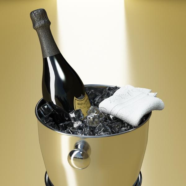 champagne set 3 – bottle, flute and ice bucket 3d model 3ds max fbx obj 144557