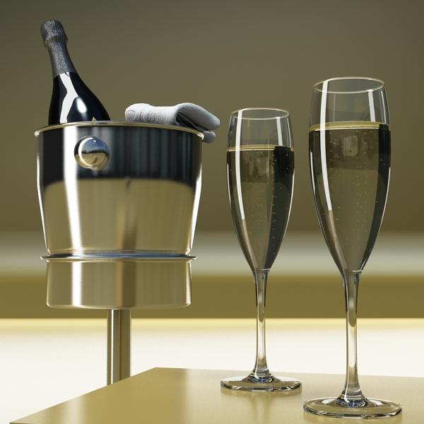 champagne set 3 – bottle, flute and ice bucket 3d model 3ds max fbx obj 144558