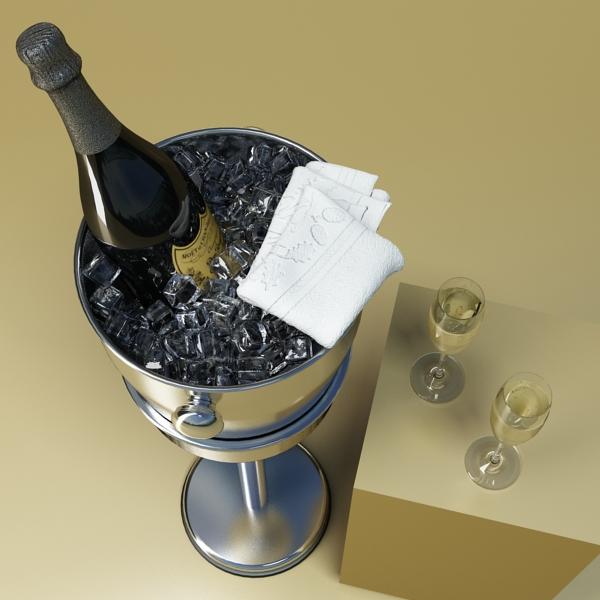champagne set 3 – bottle, flute and ice bucket 3d model 3ds max fbx obj 144559