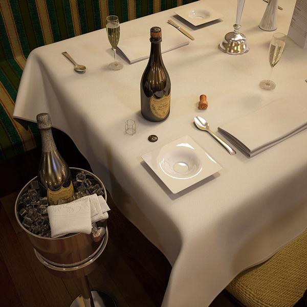 champagne set 3 – bottle, flute and ice bucket 3d model 3ds max fbx obj 144562