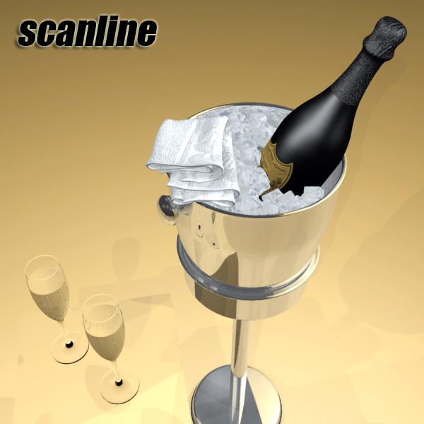 champagne set 3 – bottle, flute and ice bucket 3d model 3ds max fbx obj 144563