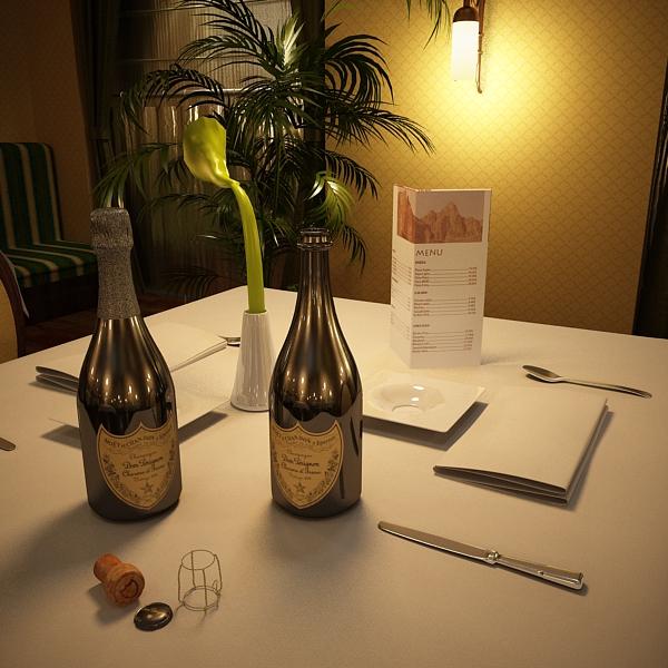 champagne set 3 – bottle, flute and ice bucket 3d model 3ds max fbx obj 144573