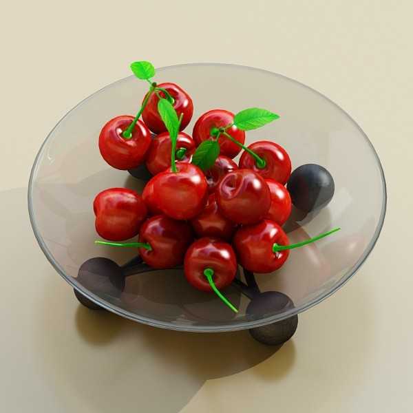 cherries in glass bowl high res 3d model 3ds max fbx obj 133391
