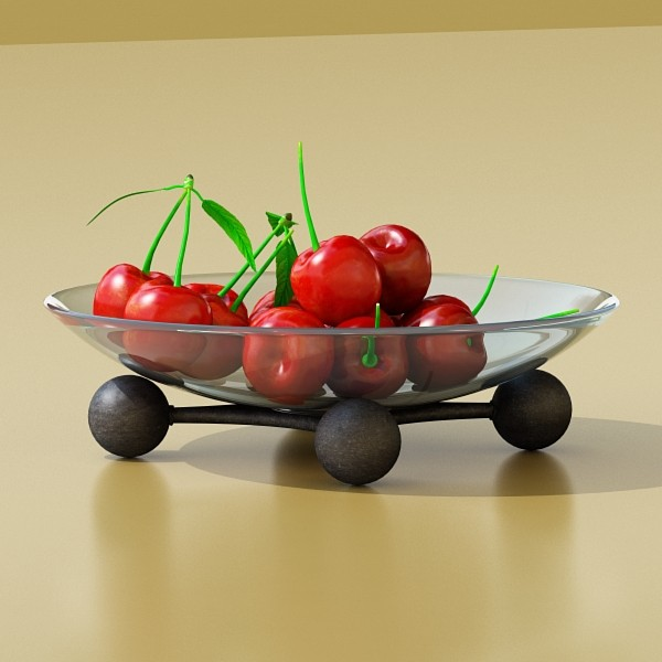 cherries in glass bowl high res 3d model 3ds max fbx obj 133393