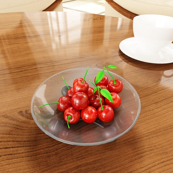 cherries in glass bowl high res 3d model 3ds max fbx obj 133401
