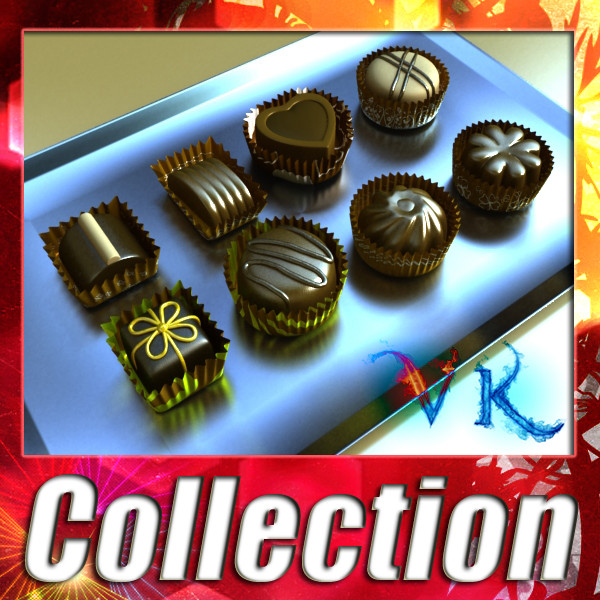 assortiment de caramels de xocolata d'alta resolució 3d model max obj 132442