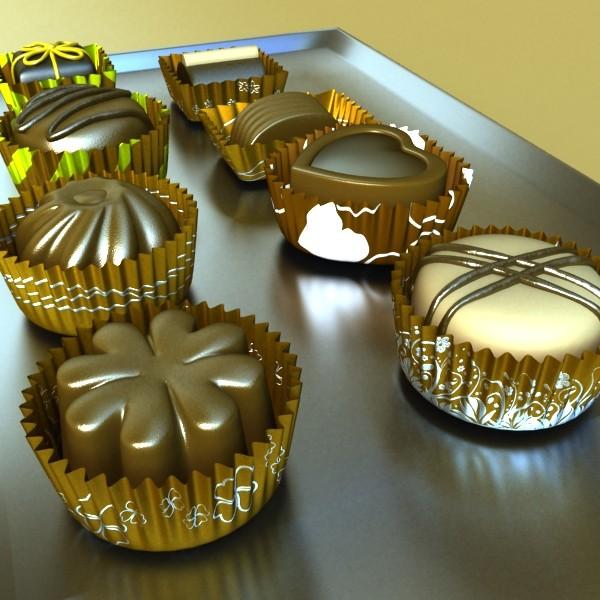šokolādes konfektes sortiments augstas res 3d modelis max obj 132443