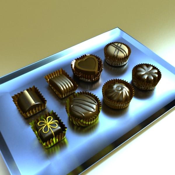 šokolādes konfektes sortiments augstas res 3d modelis max obj 132444