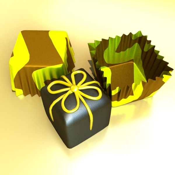 šokolādes konfektes sortiments augstas res 3d modelis max obj 132454