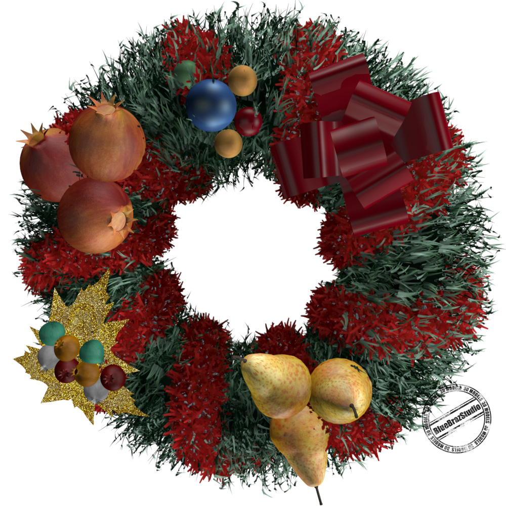 christmas wreath 3d model 3ds dxf fbx c4d dae obj 145849