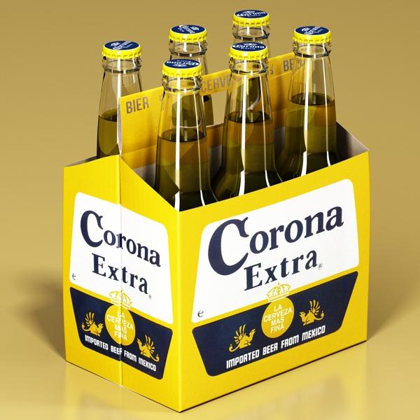 corona bjór flaska - 6 pakki 3d líkan 3ds max fbx obj 141102