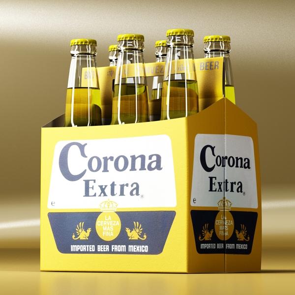 corona bjór flaska - 6 pakki 3d líkan 3ds max fbx obj 141103