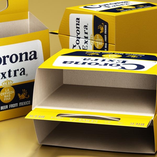 corona bjór flaska - 6 pakki 3d líkan 3ds max fbx obj 141105