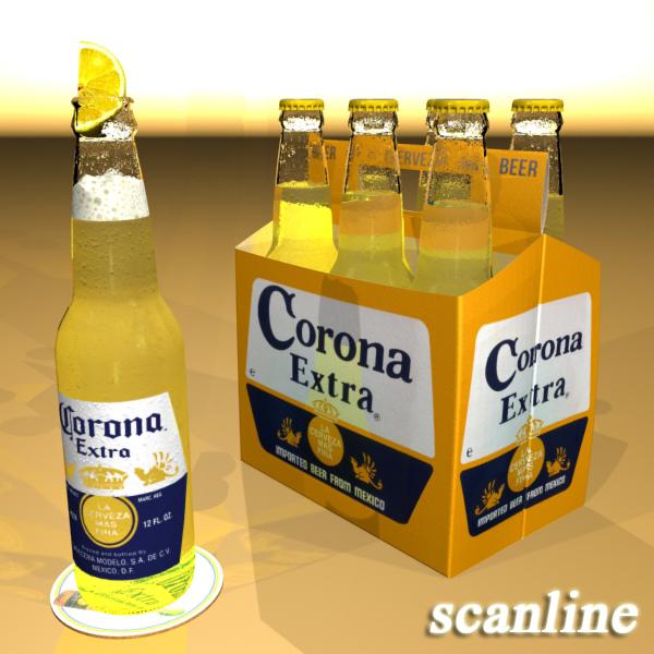 corona bjór flaska - 6 pakki 3d líkan 3ds max fbx obj 141107