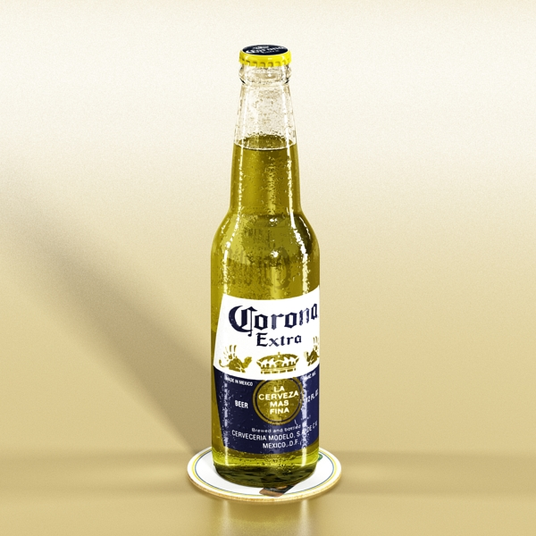 corona bjór flaska - 6 pakki 3d líkan 3ds max fbx obj 141111