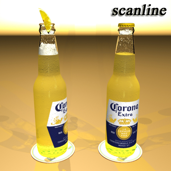 corona bjór flaska - 6 pakki 3d líkan 3ds max fbx obj 141118