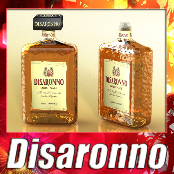 disaronno liquor bottle 3d model 3ds max fbx obj 124423