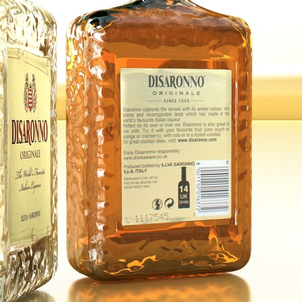 disaronno liquor bottle 3d model 3ds max fbx obj 124430