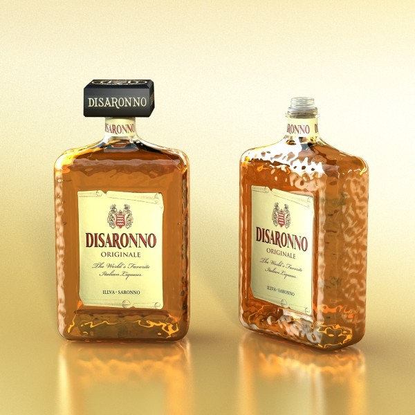 disaronno liquor bottle 3d model 3ds max fbx obj 124431