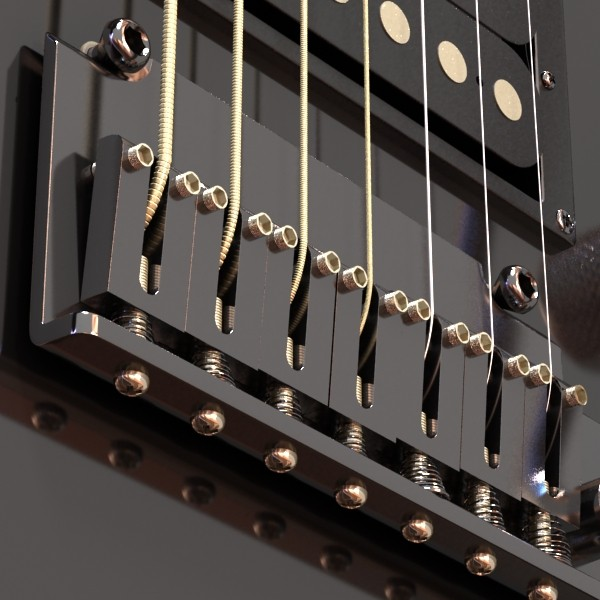 electric guitar 7 strings high detail 3d model max obj 131264