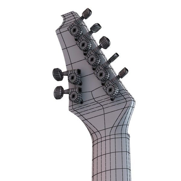 electric guitar 7 strings high detail 3d model max obj 131280