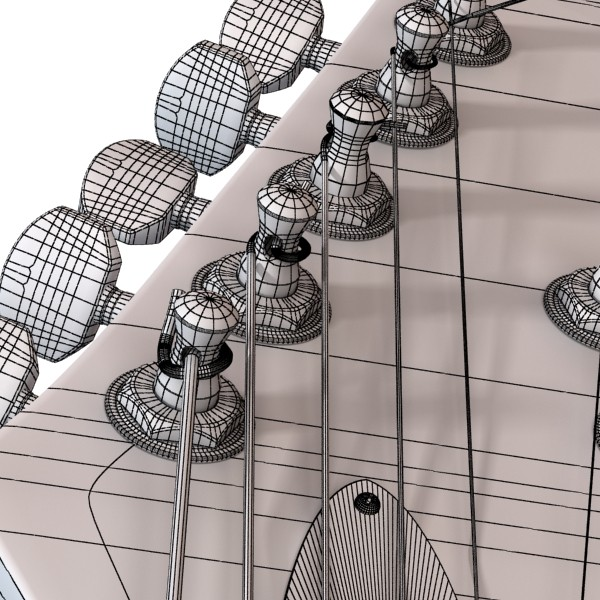 electric guitar 7 strings high detail 3d model max obj 131282