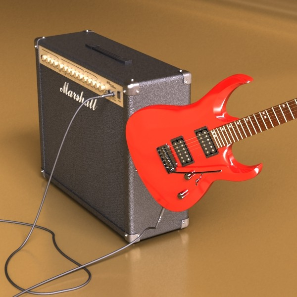 electric guitar with amplifier & cable 3d model max fbx obj 131338