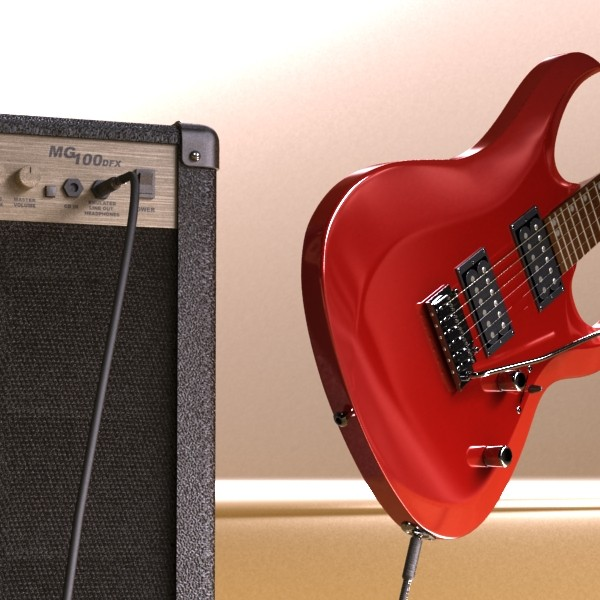 electric guitar with amplifier & cable 3d model max fbx obj 131339
