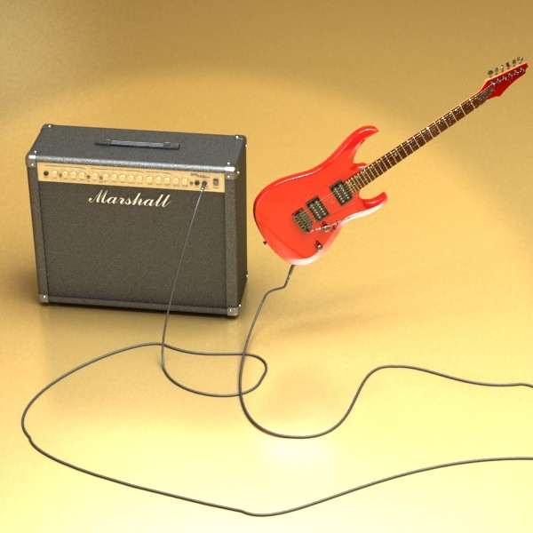 electric guitar with amplifier & cable 3d model max fbx obj 131340