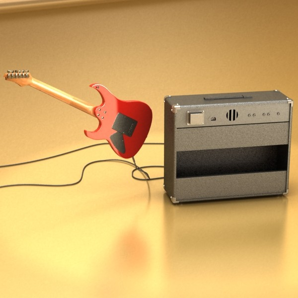 electric guitar with amplifier & cable 3d model max fbx obj 131341